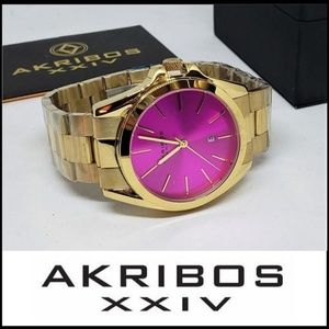 NWT AKRIBOS XXVI Stainless Steel Pink Face Watch